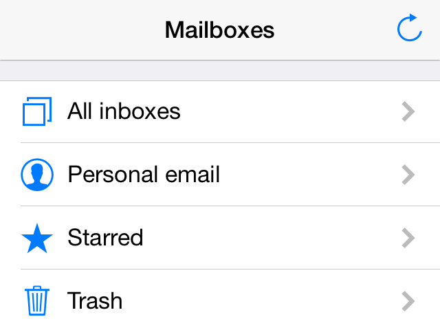 iOS mail app example